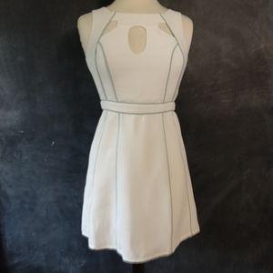 MINUET | White Tennis Style Dress w/blue Trim Sz S